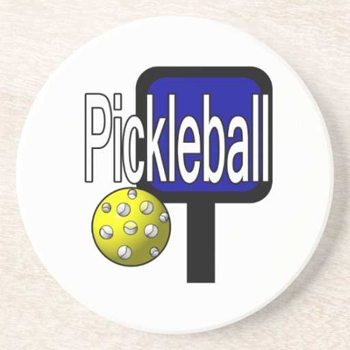 Pickleball, with ball and paddle design picture coaster
