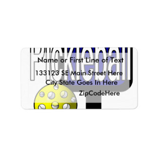 Pickleball, with ball and paddle design picture label