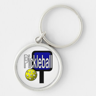 Pickleball, with ball and paddle design picture Silver-Colored round keychain