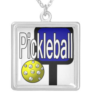 Pickleball, with ball and paddle design picture square pendant necklace