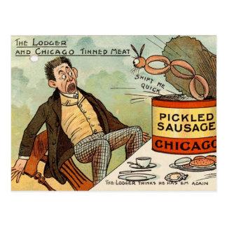 Pickled Sausage Food Safety - Vintage Cartoon Post Cards