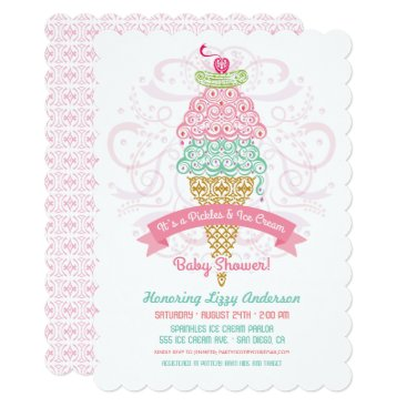 Toddler & Baby themed Pickles and Ice Cream Girl Baby Shower Invitation