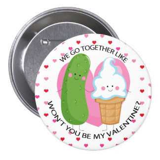 Pickles and Ice Cream Kawaii Valentine Pinback Button