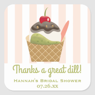 Pickles and Ice Cream Thank You Square Sticker