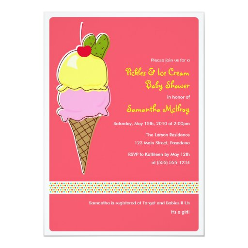 Pickles and IceCream Baby Shower, It's a Girl Custom Announcements