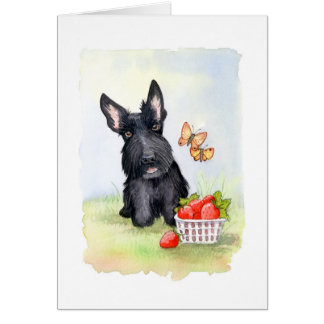 Pickles and strawberries Scottie Greeting Cards