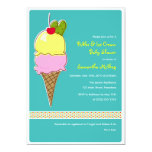 Pickles & Ice Cream Baby Shower, Baby Boy 5x7 Paper Invitation Card