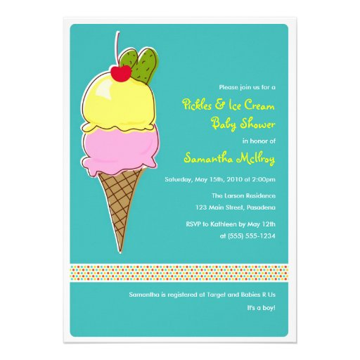 Pickles & Ice Cream Baby Shower, Baby Boy Personalized Invite
