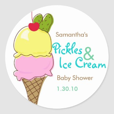 Toddler & Baby themed Pickles & Ice Cream, Boy Baby Shower Classic Round Sticker