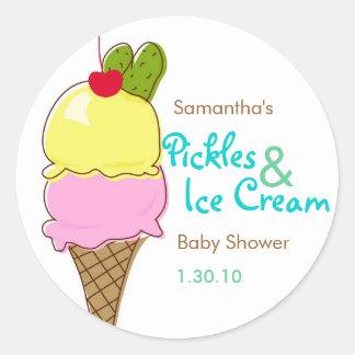 Pickles & Ice Cream, Boy Baby Shower Round Stickers
