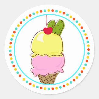 Pickles & Ice Cream, Dotted Border Round Sticker
