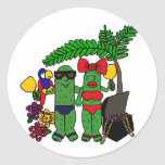 Pickles in Paradise Round Stickers