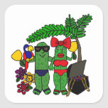 Pickles in Paradise Square Sticker