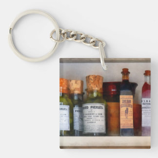 Pickles, Ketchup and Worcestershire Sauce Double-Sided Square Acrylic Keychain
