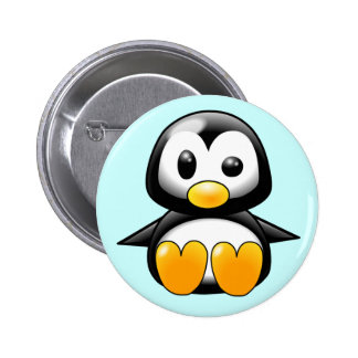 Pickles the Cute Baby Penguin Cartoon 2 Inch Round Button