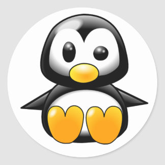 Pickles the Cute Baby Penguin Cartoon Classic Round Sticker
