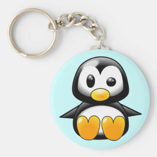 Pickles the Cute Baby Penguin Cartoon Basic Round Button Keychain