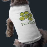 """Pickles the Dog Sweet Green Dill Pickle Chips T-Shirt<br><div class=""""desc"""">Pet tee design features an original marker illustration of crunchy green pickle chips. Great for your favorite foodie or pickle fan! Coordinating pet products available.</div>"""