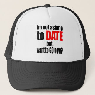 pickup line asking date red awesome party couple n trucker hat