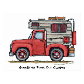Pickup Truck Camper RV Post Cards