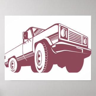Pickup Truck Rear Retro Poster