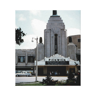 Pickwick Movie Theatre Park Ridge Watercolor Art Canvas Print