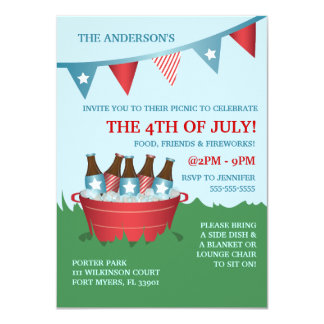 Picnic 4th of July Party Invitations