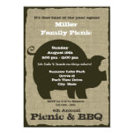 Picnic and BBQ Brown Hog 5x7 Paper Invitation Card