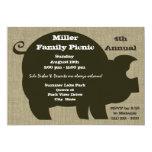 Picnic and BBQ Brown Hog Invitations