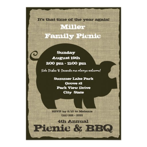Picnic and BBQ Brown Hog Personalized Invites
