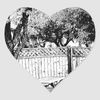 Picnic Area in the Campground Heart Sticker
