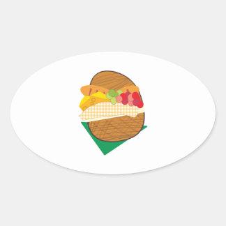 Picnic Basket Oval Sticker