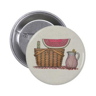 Picnic Basket & Watermelon Button