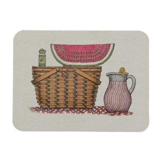 Picnic Basket & Watermelon Magnet