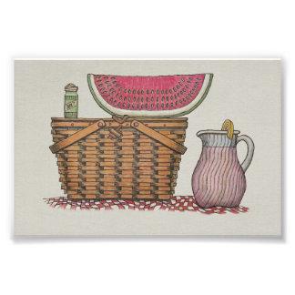 Picnic Basket Watermelon Art Photo