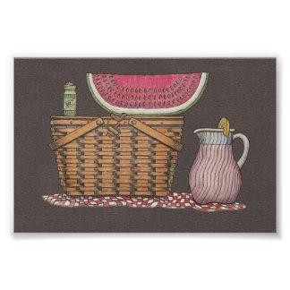 Picnic Basket Watermelon Photo Print