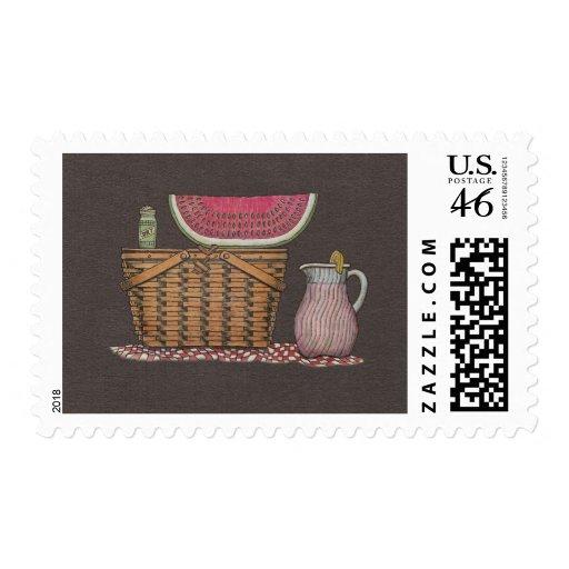 Picnic Basket & Watermelon Postage Stamp