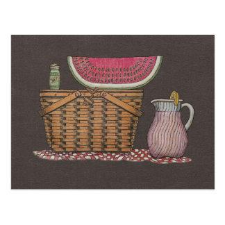 Picnic Basket & Watermelon Post Cards