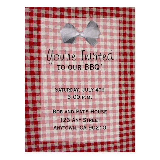 Picnic BBQ Cookout Invitation Postcard