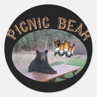 Picnic Bear Round Stickers