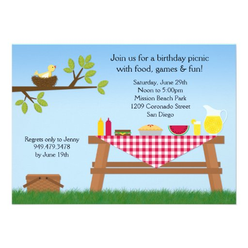 Personalized picnic basket invitations custominvitations4u picnic birthday party invitation filmwisefo Image collections