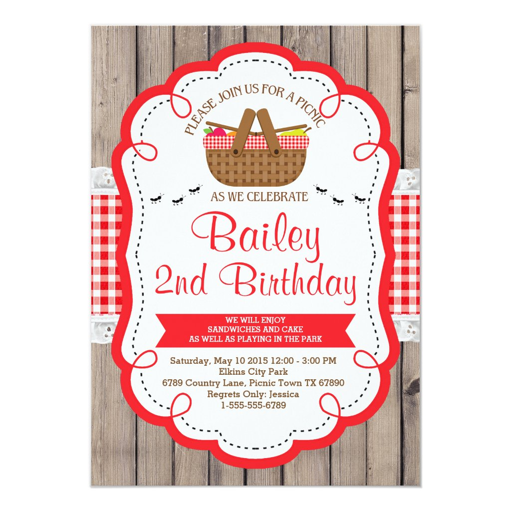 Picnic Birthday Party Invitation - Park Party