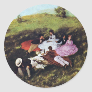 Picnic By Pál Szinyei Merse (Best Quality) Classic Round Sticker