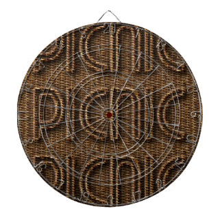 Picnic Funny Wicker Style Typography Brown Dartboard With Darts