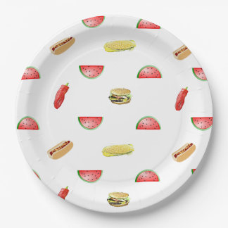 Picnic Grilling out Veggies and Burgers Tablecloth Paper Plate