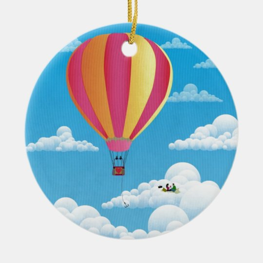 Picnic in a Balloon on a Cloud Ceramic Ornament