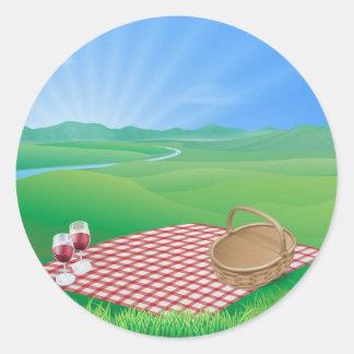 Picnic in beautiful rural scene sticker