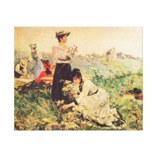 Picnic in Normandy by Juan Luna. Canvas Print