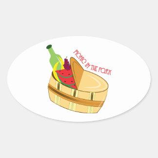 Picnic In Park Oval Sticker