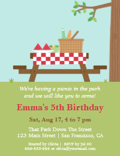 picnic birthday invitations zazzle